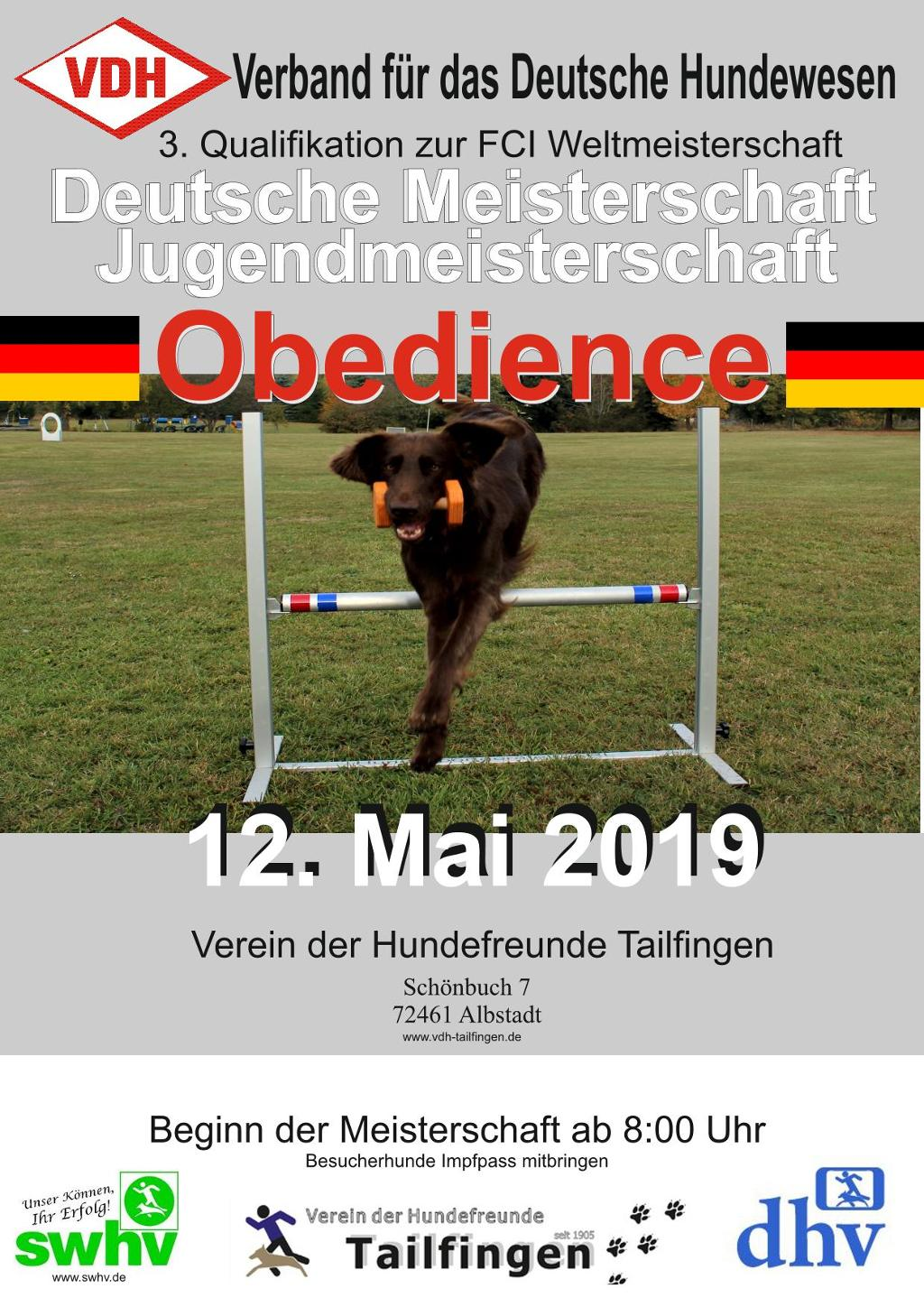 Plakat Obedience VDH-DM 2019